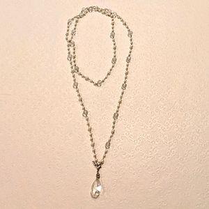 JEWEL KADE crystal & pearl necklace w/pendant